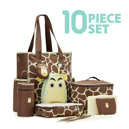 Soho Collections Large Capacity Deluxe Tote Diaper Bag 10 Piece Complete Set With Stroller