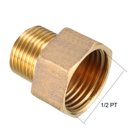 Brass Pipe Fitting, Adapter, 3/8 PT Male x 1/2 PT Female Coupling - image 1 of 4