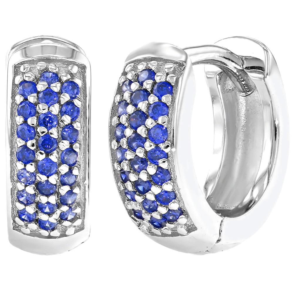 925 Sterling Silver Cubic Zirconia Small Wide Huggie Hoop Girls Earrings 8mm