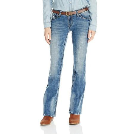 Wrangler Women's Rock 47 Fashion Jean-Sits Above Hip, Medium Blue,