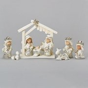 "9 Piece Set White Christmas Nativity Stable Scene Figurines 6.5"""
