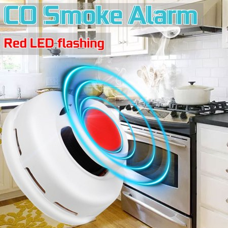 2 in 1 Carbon Monoxide & Smoke Alarm Smoke Fire Sensor Alarm CO Carbon Monoxide Detector Sound Combo Sensor Tester Battery Operated with  Display for CO Level - image 11 of 13