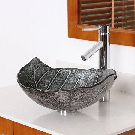 Elite Winter 2659 Tempered Glass Leaf Design Bathroom Vessel Sink