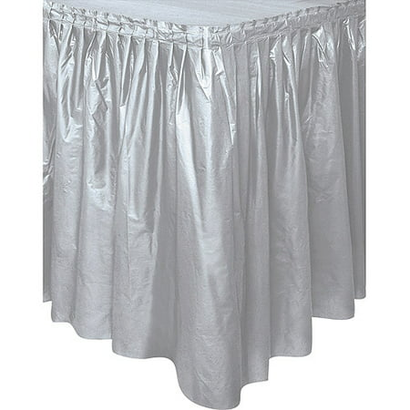 Raffia Table Skirt Bulk (Silver Plastic Party Table Skirt,)
