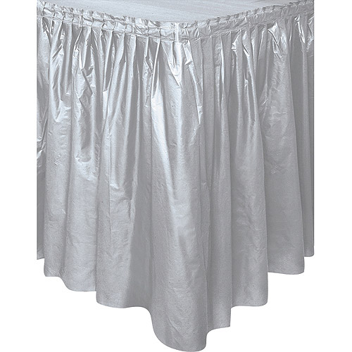 Plastic Table Skirt, 14 ft, Silver, 1ct