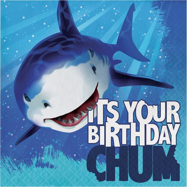 Party Creations Shark Splash Happy Birthday Lunch Napkins, 16 Ct