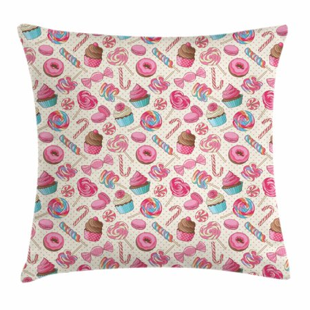 Candy Cane Throw Pillow Cushion Cover, Yummy Sweet Lollipop Candy Macaroon Cupcake and Donut on Polka Dots Pattern, Decorative Square Accent Pillow Case, 16 X 16 Inches, Multicolor, by - Candy Cane Throw Pillow