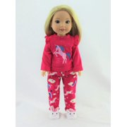 14.5 INCH DOLL: Hot Pink Unicorn Pajamas - Fits 14 Inch Wellie Wisher Dolls | 14 Inch Doll Clothing