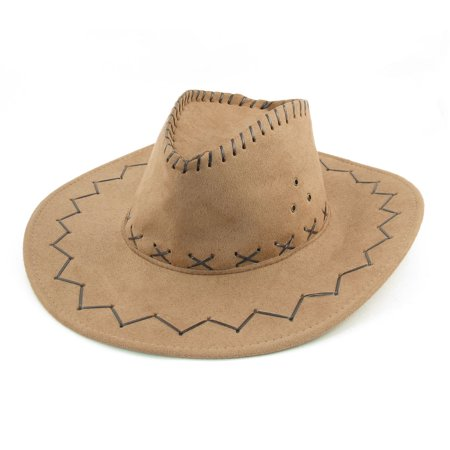 Unique bargains cowboy style sewing wave decor wide brim Decoration kaki