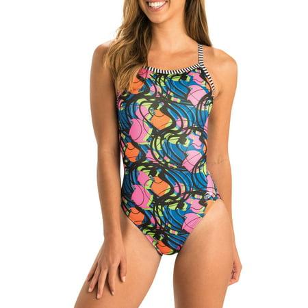 Dolfin Uglies Halloween Suit (Dolfin Uglies Women's Print V-2 Back Swimsuit in Party Gras, Size)
