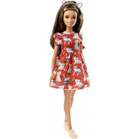 Barbie Fashionistas Doll, Petite Body Type Wearing Kitty Dress