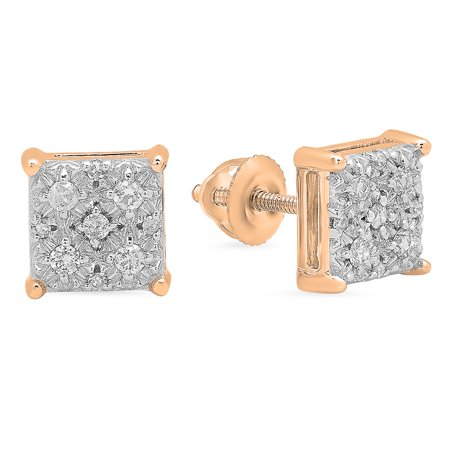 18k Rose Gold Square (0.20 Carat (ctw) 18K Rose Gold Round White Diamond Ladies Square Shape Stud Earrings 1/5 CT)