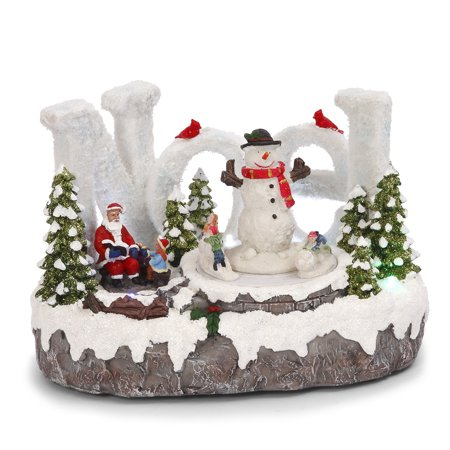 Fancy Lighted Musical Animated NOEL Santa Winter Holiday Snow Village Town Set