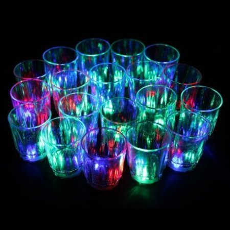 24/pk Non-toxic Plastic Colorful Flashing Light UP LED Cups Shots Glass for Bar Party
