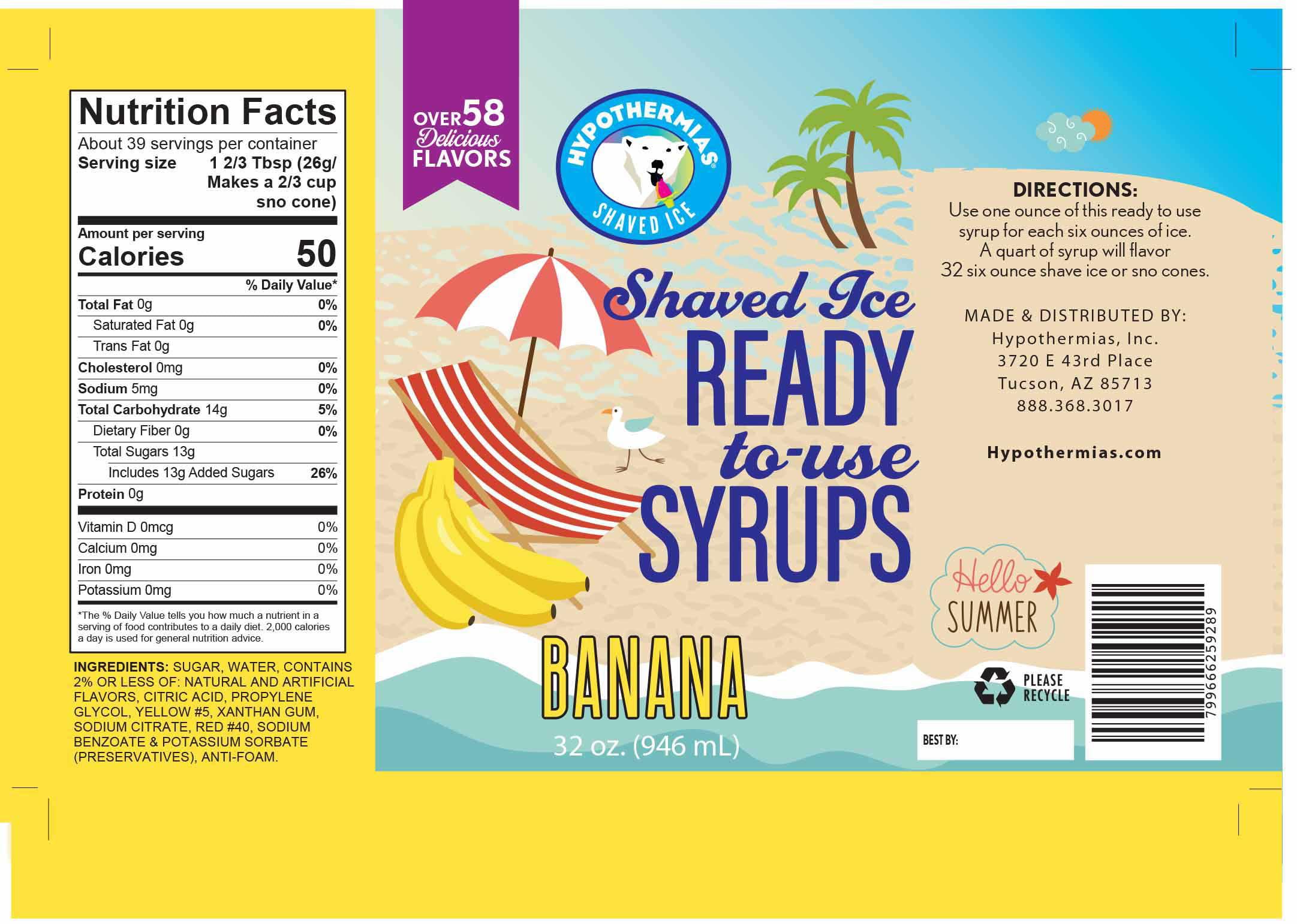 Banana Ready to Use Hawaiian Shaved Ice or Snow Cone Syrup Quart 32 Fl. Oz