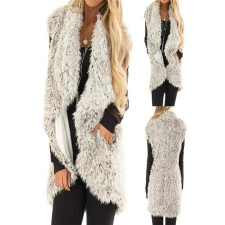 Womens Plush Autumn Winter Faux Fur Sleeveless Vest Keep Warm Hidden Pocket - Hidden Agenda Jacket