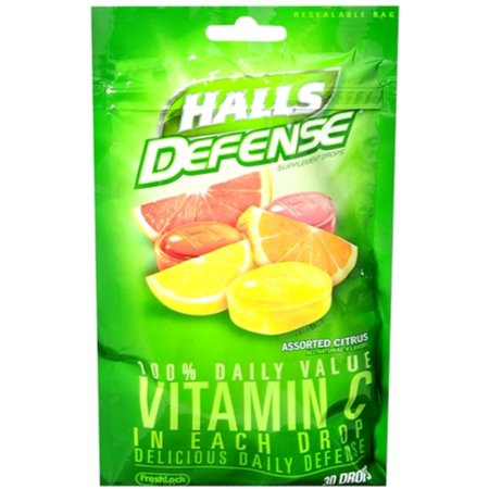 2 Pack - Halls Defense Vitamin C Drops Assorted Citrus 30 Each