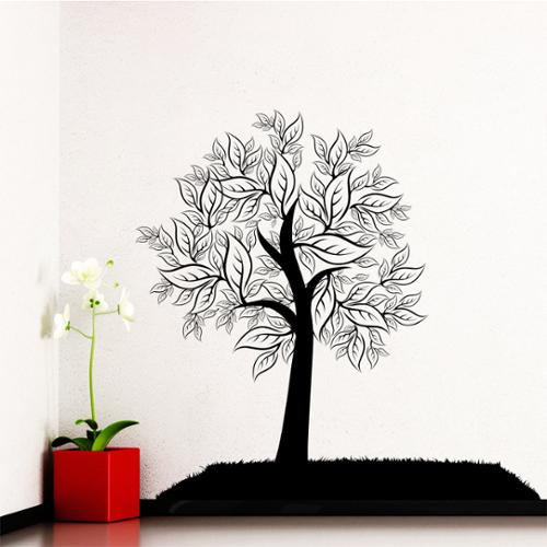 Stickalz llc Wall Decal Tree Silhouette Leaves Forest Wall Bedroom Vinyl Stickers Nature Decor Art Murals