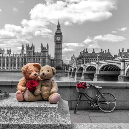 Teddy Bears with red rose agasint Westminster Abby London UK Poster Print by  Assaf Frank