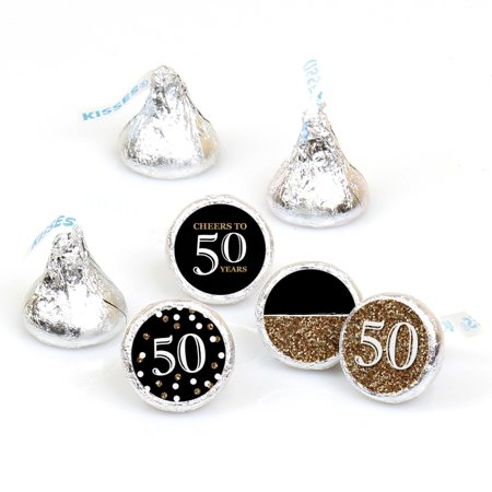 Adult 50th Birthday - Gold - Round Candy Sticker Party Favors - Labels Fit Hershey's Kisses (1 sheet of 108) (Adult Birthday)