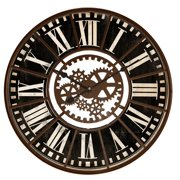 """Round Red or Black Gears Wall Clock 32""""x32"""""""