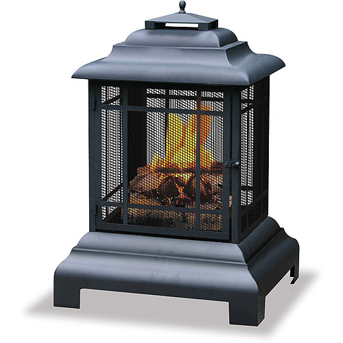 Uniflame Mission-Style Outdoor Firehouse / Fire Pit , Black