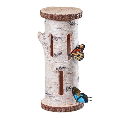 Faux Birch Butterfly House Tree Mount with Three Slot Openings - Outdoor Decorative Accent For Nature