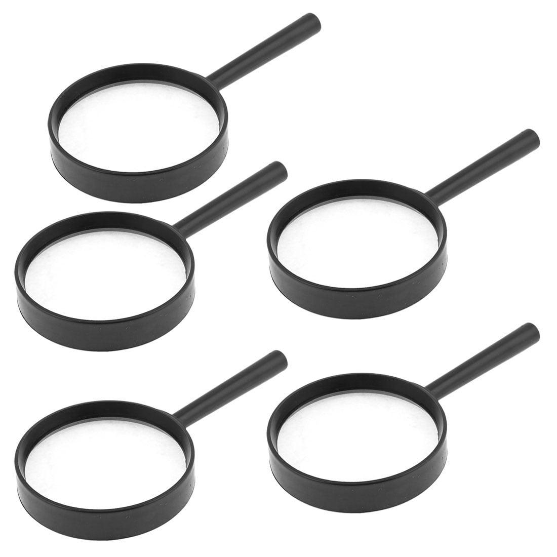 Unique Bargains 5 Pcs Black Plastic Frame 75mm Diameter Lens 3X Handheld Magnifier