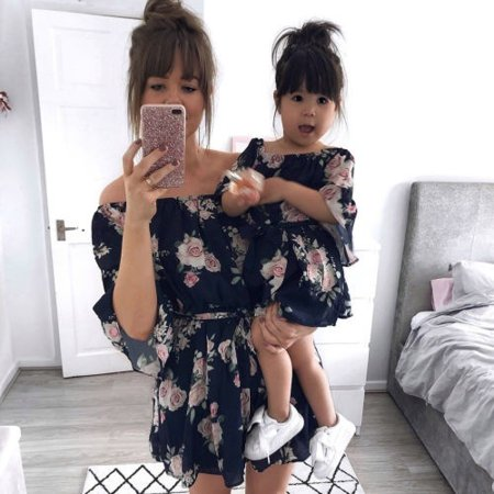 Family Dress Mother and Daughter Matching Girl Floral Outfits Clothes Long Sleeve Dresses