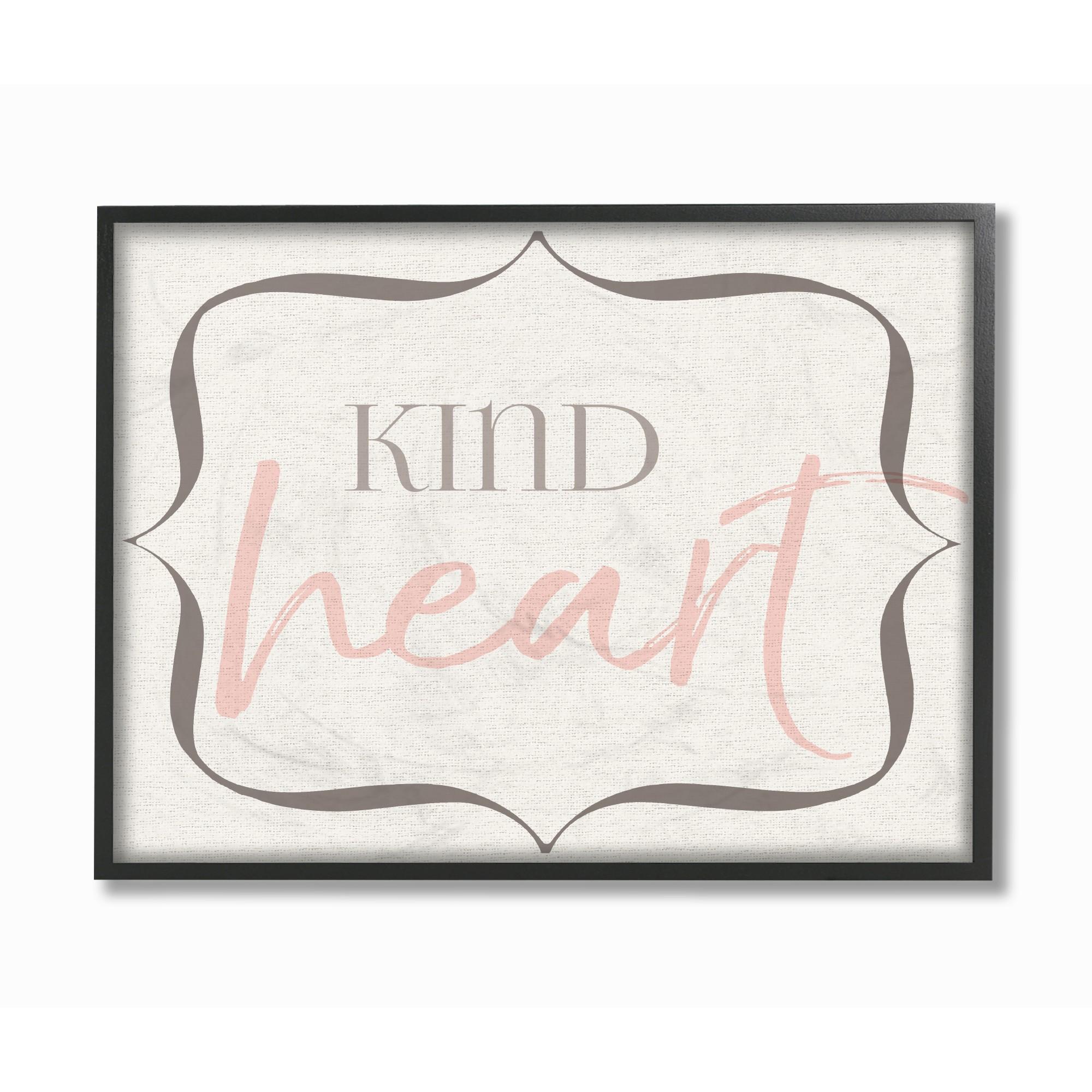 The Kids Room by Stupell Elegant Kind Heart Framed Giclee Texturized Art, 11 x 1.5 x 14