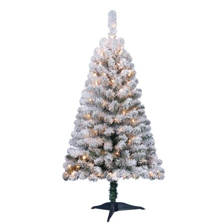 Holiday Time Pre-Lit 4' Greenfield Flocked Pine Green ...