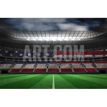 Digitally Generated American National Flag against Large Football Stadium Print Wall Art By Wavebreak Media