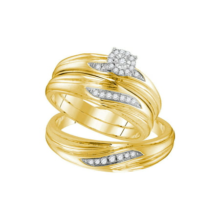 Yellow-tone Sterling Silver His & Hers Round Diamond Solitaire Matching Bridal Wedding Ring Band Set 1/5