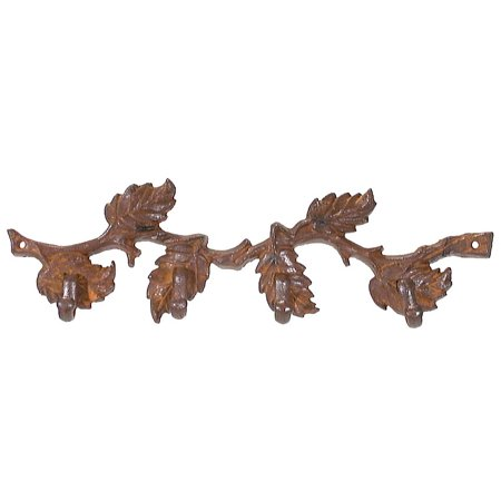"B&P Lamp® 14"" Cast Iron Oak Limb Coat Hook, Rust Finish"
