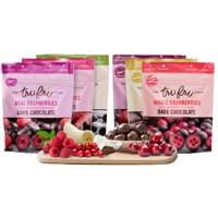 Tru Fru Dark Chocolate, Variety Pack, 6 Ct Raspberries, Cherries, Strawberries, Bananas, Cranberries and Coconut Melts Freeze Dried Fresh and Immersed in Premium Dark Chocolate