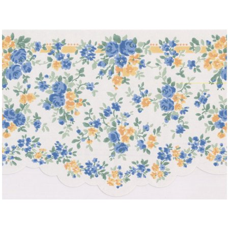 Wall Border - Blue and Yellow Tiny Flowers Scalloped Wallpaper Border Retro Design, Prepasted Roll 15 ft. x 6.5