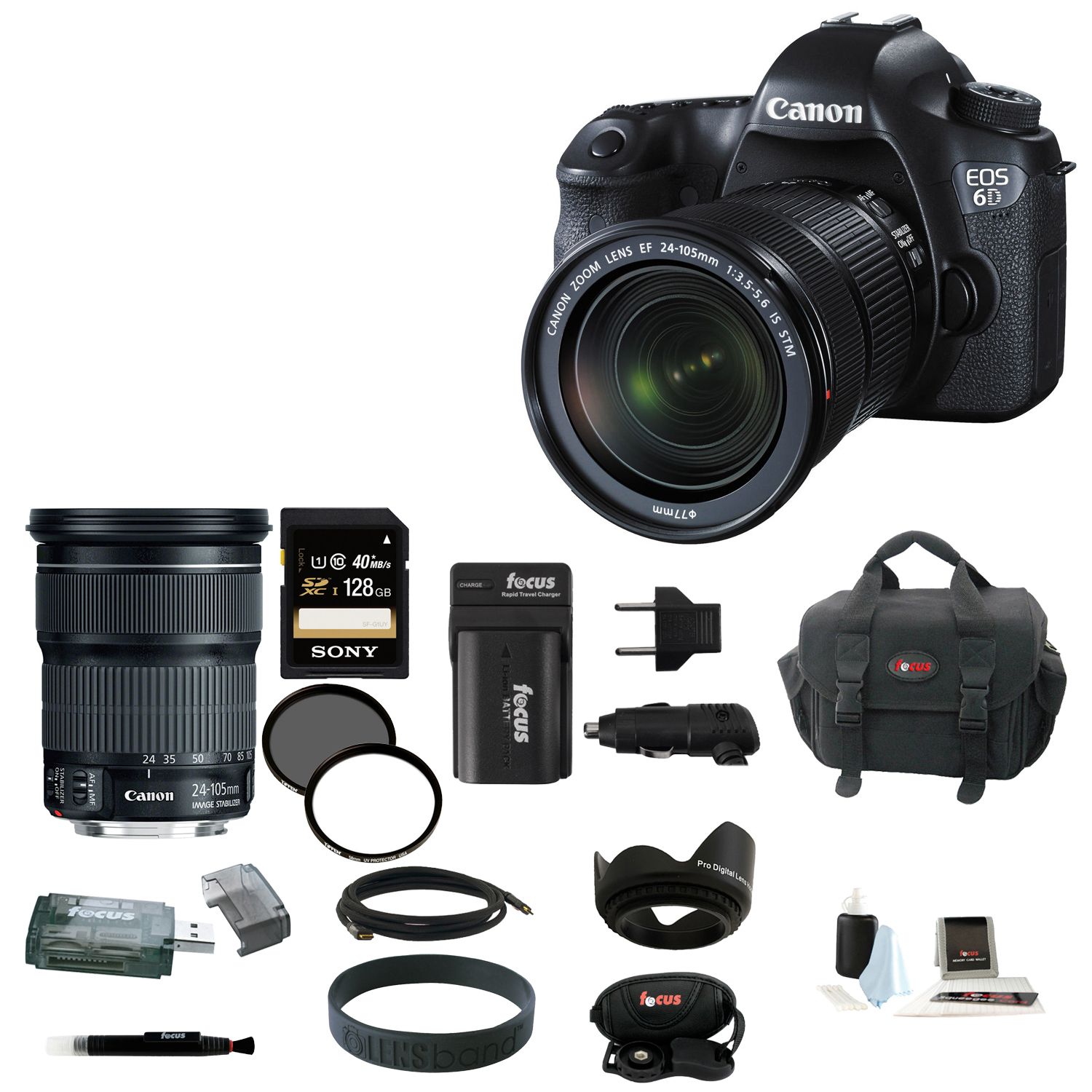 Canon EOS 6D 20.2MP Full Frame DSLR with EF 24-105mm IS STM Lens + 128GB Deluxe Accessory Kit