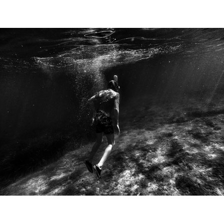 Black Girl Underwater (LAMINATED POSTER People Swimming Underwater Black And White Girl Poster Print 24 x)