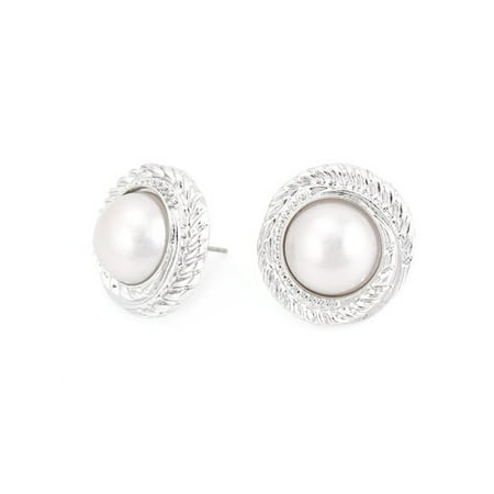 Rhodium-Plated Braid Bezel White Pearl Button Earrings