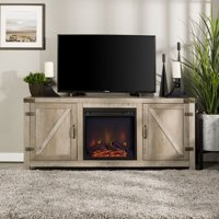 "Manor Park Modern Farmhouse Barn Door Fireplace TV Stand for TV's up to 64"" - Grey Wash"