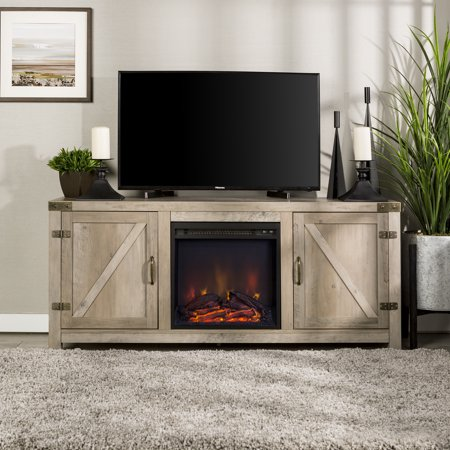 Park Place Two Light - Manor Park Modern Farmhouse Barn Door Fireplace TV Stand for TV's up to 64