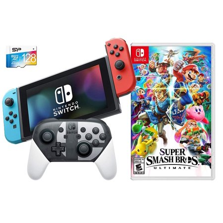 Nintendo Switch SSB Limited Bundle: Super Smash Bros. Ultimate Game and Special Edition Pro Controller, 32GB Switch Console with Neon Blue and Red Joy-Con, 128GB SD (Nintendo Wii Limited Edition Blue Console $99-96)