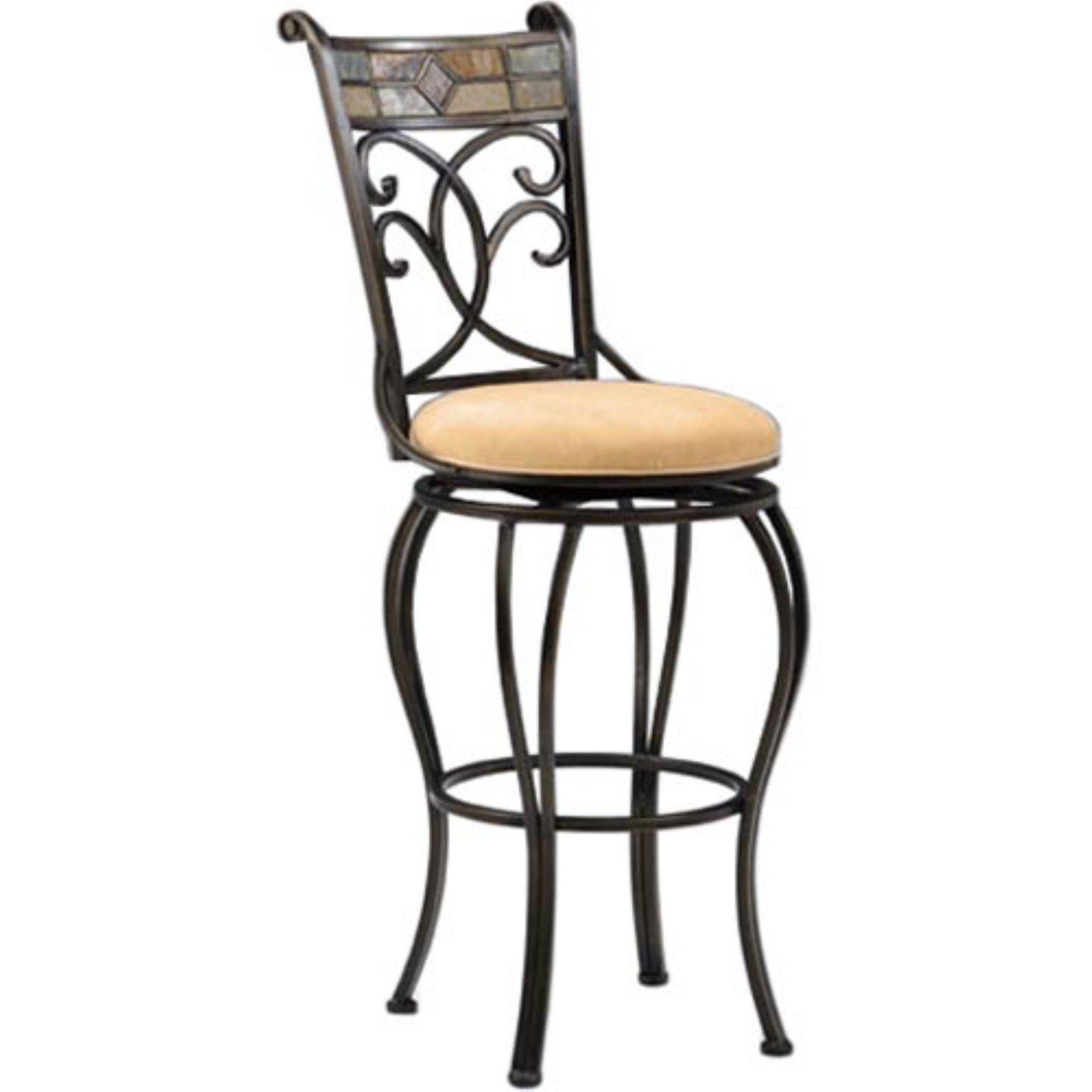 Hillsdale Pompei 30 in. Swivel Bar Stool Black Gold by Hillsdale Furniture