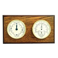 Bey-Berk International Brass Tide Clock, Thermo./Hygro. on Oak T.P.