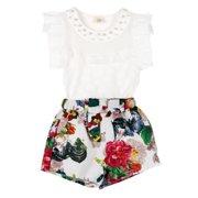 Summer Girls Clothes Set Sleeveless Solid T-shirt + Short Print Pants Girl Clothing Sets for Girls Kids