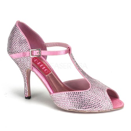 VIOLETTE-01R, 3 1/2'' Rhinestoned T-Strap Peep Toe Pump Shoes