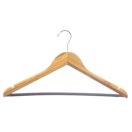 Bamboo Suit Hanger w/ Black Vinyl Bar, Box of 24 Eco-Friendly 17 Inch Flat Wooden Hangers w/ Lacquer Finish & Chrome Swivel Hook for Shirt Jacket or Blouse, by International - Bamboo Hangers