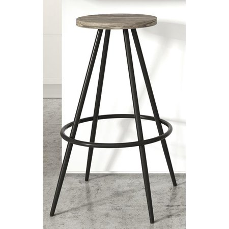 Black Wood Stool (Novogratz Leo Farmhouse Bar Stool, Black Metal/Grey)