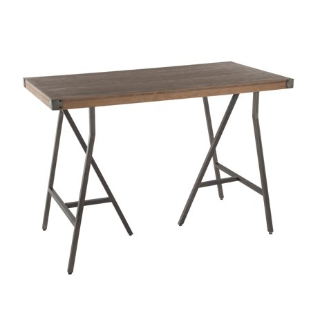 Trestle Industrial Counter Table in Antique Metal and Brown Wood-Pressed Grain Bamboo by LumiSource ()