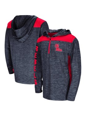 Ole Miss Rebels Colosseum Youth Quick Kick Quarter-Zip Hoodie - Heathered Navy